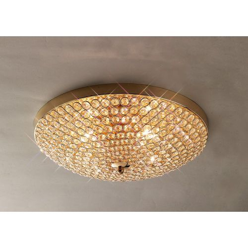 Diyas IL30756 Ava Flush Ceiling Fitting 4 Light French Gold Crystal