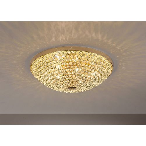 Diyas IL30757 Ava Flush Ceiling Fitting 6 Light French Gold Crystal