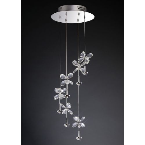 Diyas IL31141 Aviva LED Crystal Spiral Pendant 6 Light 4000K LED Polished Chrome Frame