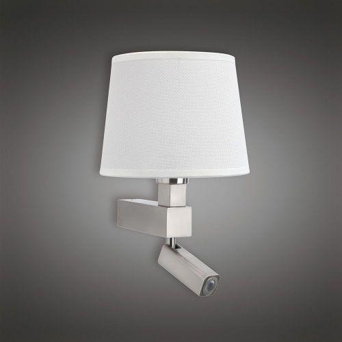 Mantra M5234 Bahia Wall Lamp 1 Light out Shade E27 Reading Light 3W LED Satin Nickel 4000K 200lm