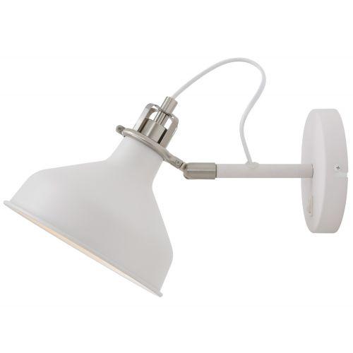 Lekki Blake Adjustable Wall Lamp Switched 1 x E27 Sand White Satin Nickel White LEK3043