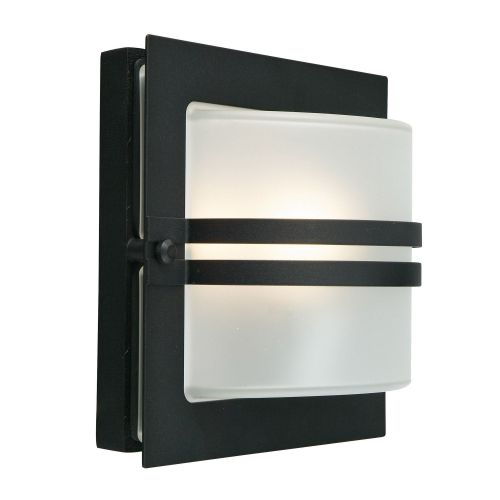 Norlys BERN E27 BLK F 1Lt Black Frosted Outdoor Wall Light