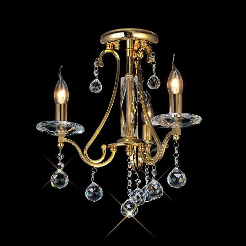 Diyas IL30213 Bianco Ceiling 3 Light French Gold Crystal Chandelier