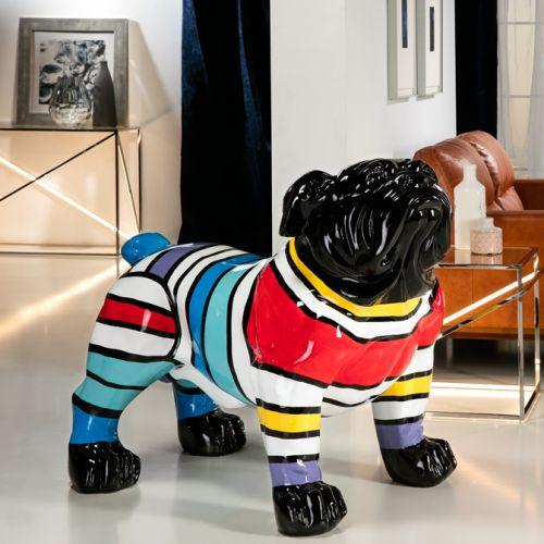 Schuller 431862 Bulldog Large Multicoloured Stripe Fibreglass Polyester Figurine