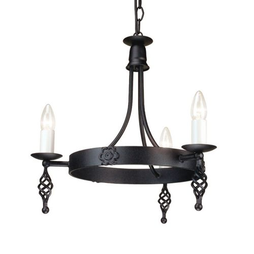Elstead Belfry BY3 Black 3 Light Chandelier