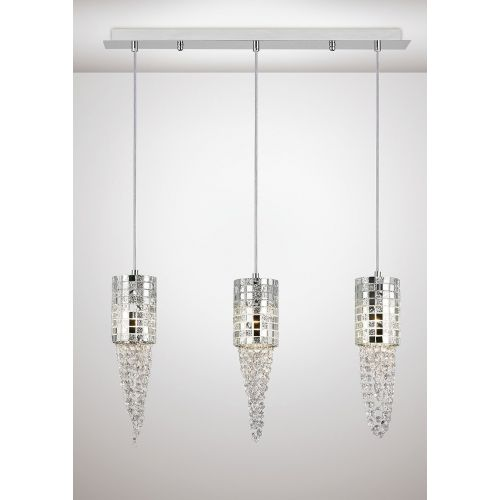 Diyas IL31625 Camden Pendant 3 Light G9 Line Polished Chrome Mosaic Glass Crystal