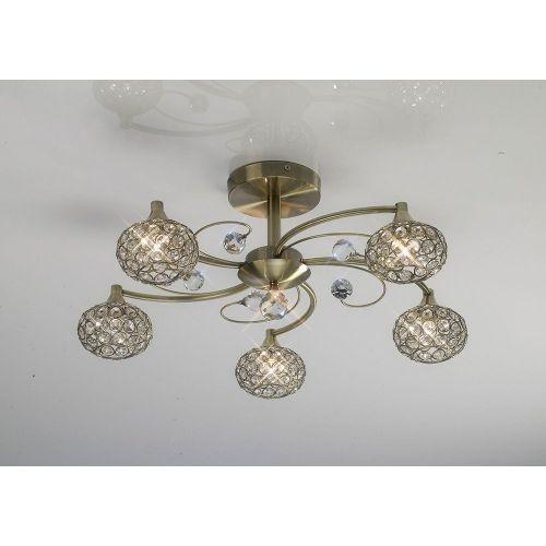 Diyas IL30945 Cara Semi Flush Ceiling 5 Light Antique Brass Crystal