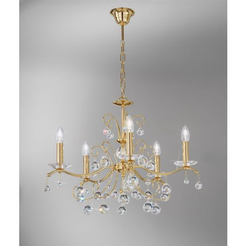 Kolarz 3234.85.3.KoT Carmen Crystal 5 Light Chandelier Gold Frame