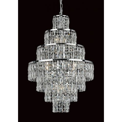 Impex CB03220/08/CH New New York 8 Light Chrome Czech Crystal Ceiling Chandelier