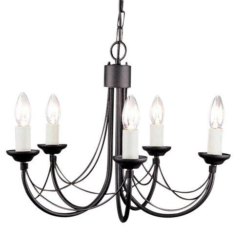 Elstead Carisbrooke Black 5 Light Chandelier ELS/CB5