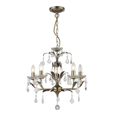 Impex CF1706/05/AB Evon 5lt Antique Brass Ceiling Pendant
