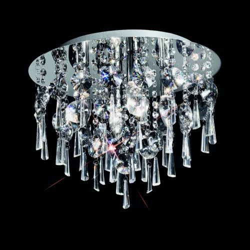 Franklite Bathroom Circular Flush With Crystal Glass Drops CF5719