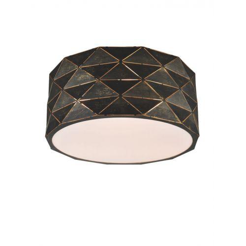 Franklite CF5770 Tangent 4Lt Black Brushed Gold Flush Ceiling Light