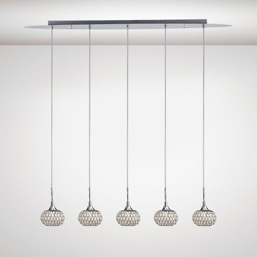 Diyas IL31507 Chelsie Pendant 5 Light Line Polished Chrome Clear Glass