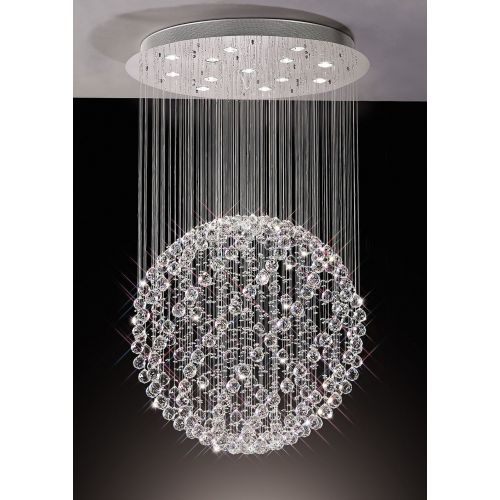 Diyas IL30782 Colorado Crystal 13 Light Sphere Pendant Polished Chrome Frame