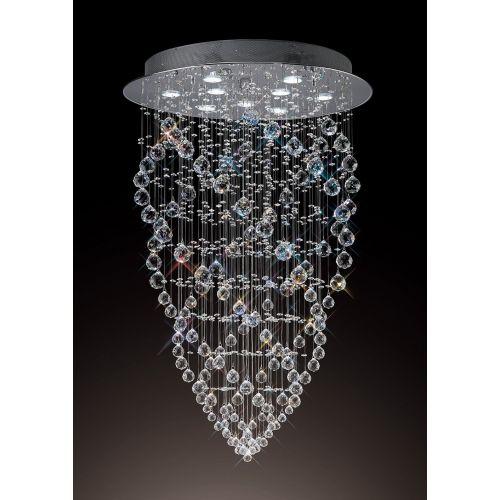 Diyas IL31378 Colorado Crystal 9 Light Cone Pendant Polished Chrome Frame