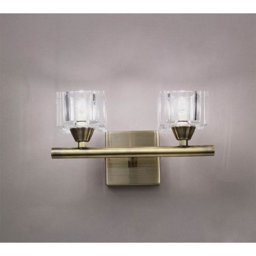 Mantra M2364AB/S Cuadrax Wall Switched 2 Light G9 Antique Brass