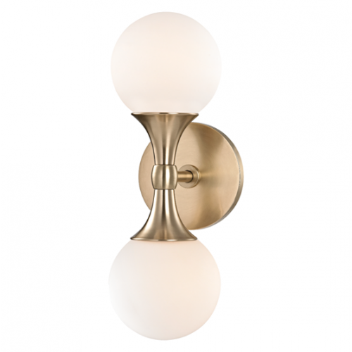 Hudson Valley Astoria Wall Light  2 x G9 Aged Brass 3302-AGB-CE