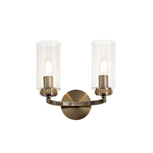 Lekki Dyani Wall Lamp Switched 2 x E14 Antique Brass LEK3099