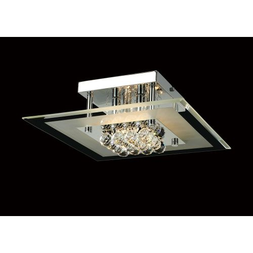 Diyas IL30023 Delmar Crystal 4 Light Square Flush Ceiling Fitting Polished Chrome Frame
