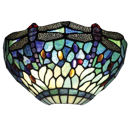 Interiors 1900 Tiffany Dragonfly Blue Wall Light 64102