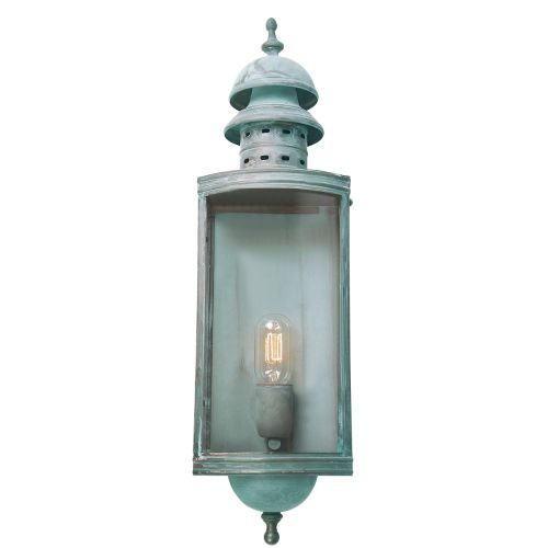 Elstead Downing Street Solid Brass Outdoor Wall Lantern Verdigris