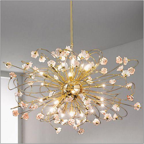 Kolarz Twister Rose 24kt Gold 24lt Ceiling Chandelier 1307.824.3.R1R