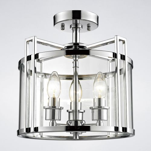 Diyas IL31080 Eaton Semi Flush 3 Light Ceiling Lantern Polished Chrome Frame