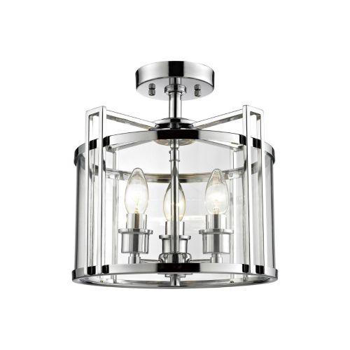 Diyas IL31080 Eaton Semi Flush 3 Light Ceiling Lantern Polished Chrome Frame