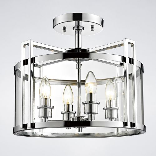 Diyas IL31081 Eaton Semi Flush 4 Light Ceiling Lantern Polished Chrome Frame