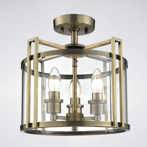 Diyas IL31090 Eaton Semi Flush 3 Light Ceiling Lantern Antique Brass Frame
