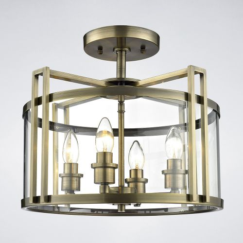Diyas IL31091 Eaton Semi Flush 4 Light Ceiling Lantern Antique Brass Frame