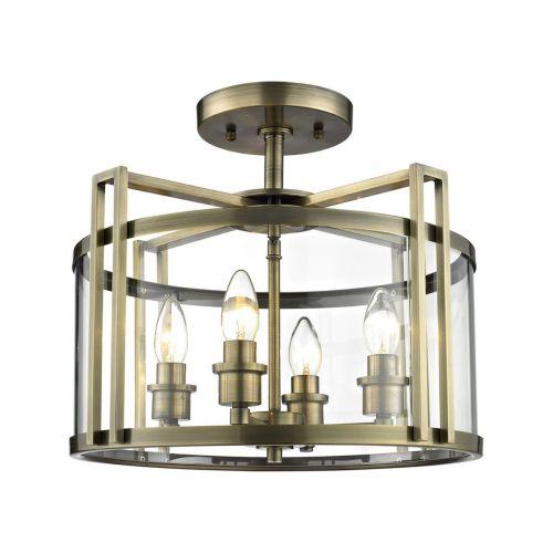 Diyas IL31091 Eaton Semi Flush 4 Light Ceiling Lantern Antique Brass Frame