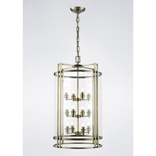 Diyas IL31095 Eaton Pendant 12 Light Ceiling Lantern Antique Brass Frame