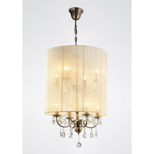 Diyas IL30069 Ella Pendant Ivory Cream Shade 8 Light Antique Brass Crystal