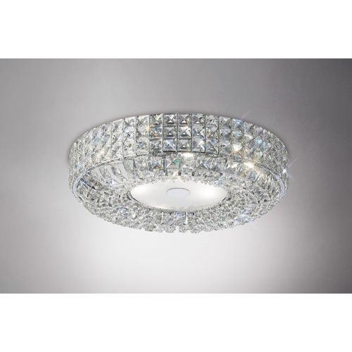 Diyas IL31201 Enya Crystal 6 Light Flush Ceiling Fitting Polished Chrome Frame