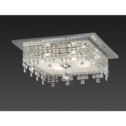 Diyas IL30262 Esta Flush Ceiling Fitting Square 4 Light Polished Chrome Glass Crystal