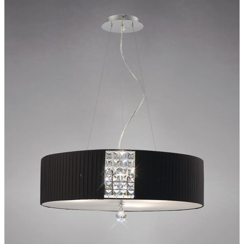 Diyas IL31174/BL Evelyn Pendant Round Black Shade 5 Light Polished Chrome Crystal