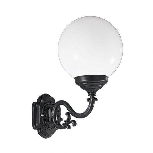 Franklite Rotonda Large Italian Outdoor Wall White Shade Light EXT6591 Black Frame