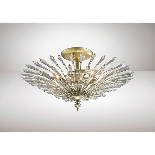 Diyas IL31671 Fay Crystal 3 Light Semi Flush Ceiling Fitting Aged Gold Frame