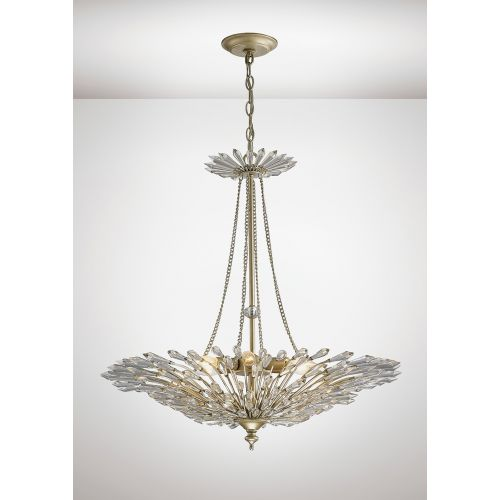 Diyas IL31672 Fay Crystal 6 Light Pendant Aged Gold Frame