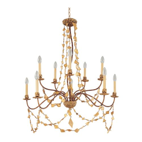 Flambeau Mosaic 10 Light Chandelier Gold Finish FB/Mosaic10