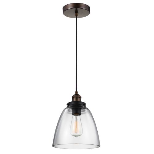 Feiss Baskin 1lt Pendant Painted Aged Brass / Dark Weathered Zinc ELS/FE/BASKIN/P/B BR