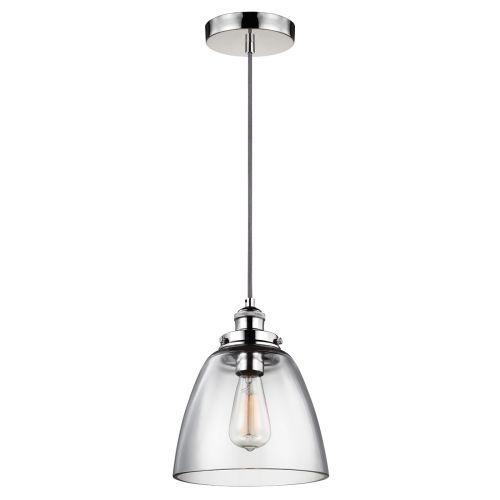 Feiss FE/BASKIN/P/B PN Baskin 1Lt Polished Nickel Pendant Ceiling Light