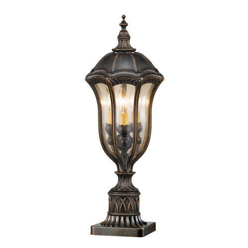 Feiss Baton Rouge Walnut Finish Outdoor Pedestal Lantern FE/BatonRG3