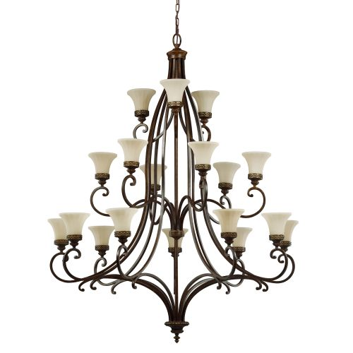 Feiss FE/DRAWINGRM18 Drawing Room 18Lt Walnut Ceiling Chandelier Glass Shades
