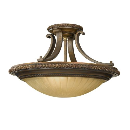 Feiss FE/KELHAMHALL/SF Kelham Hall 2Lt Bronze and Gold Ceiling Semi-Flush