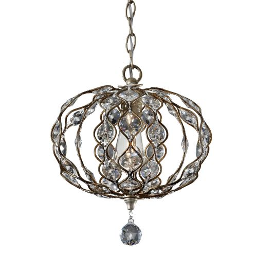 Feiss Leila Silver Convertible Pendant Fitting Sunflower Crystal FE/LEILA1C