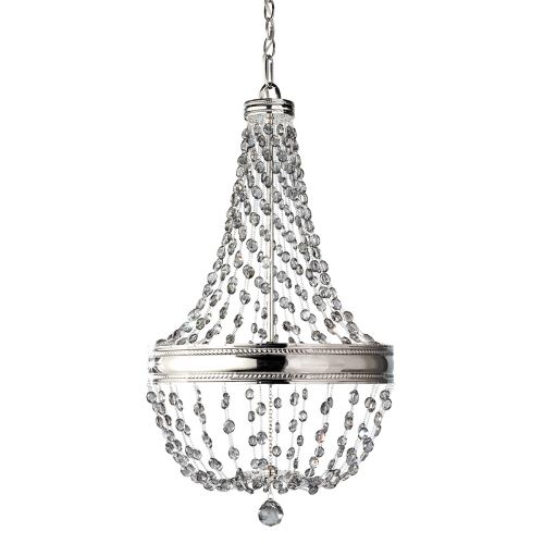 Feiss Malia Polished Nickel Chandelier Smoked Crystal 6 Light FE/MALIA6