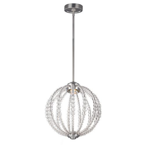 Feiss FE/OBERLIN/P/S Small LED Clear Satin Nickel Pendant
